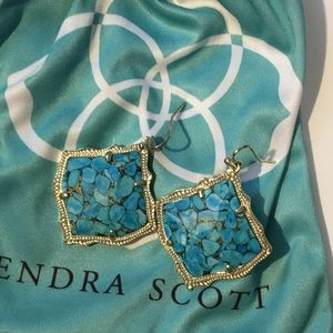 Kendra Scott Variegated Turquoise/Gold Earrings
